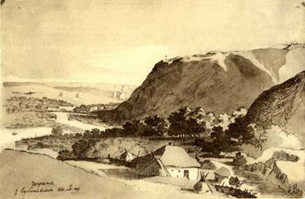 Т.Г.Шевченко. Чигирин з Суботівського шляху. Акварель. [IV—X 1845]. Арк. 14 альбому 1845 р.